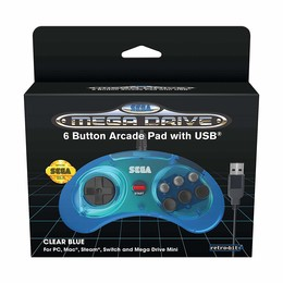 SEGA Mega Drive MINI 6-Button Controller - Clear Blue